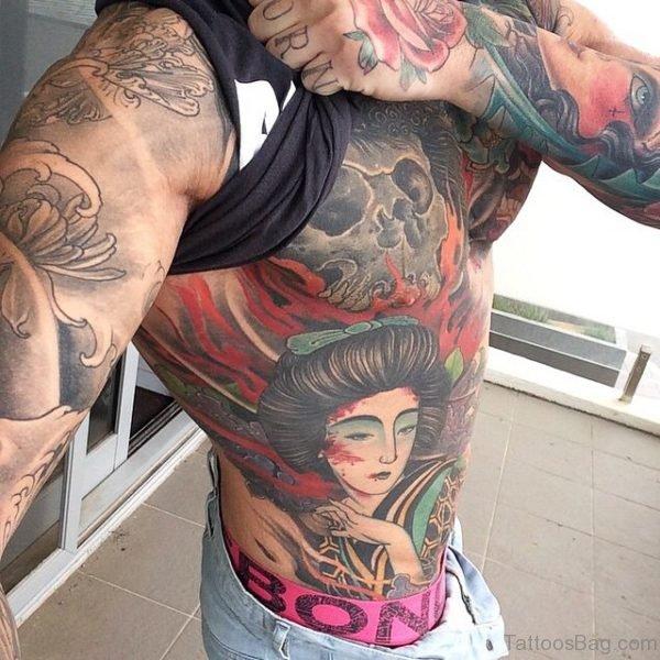 Geisha Tattoo On Rib