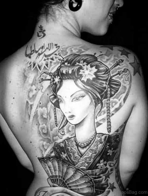 Geisha Girl Tattoo On Back Shoulder