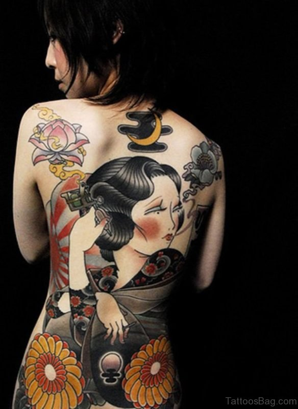 Geisha Tattoo Design On Back