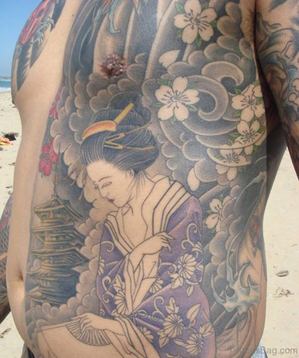 Geisha Tattoo Design On Chest
