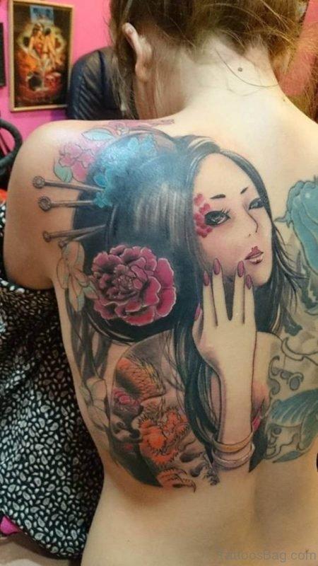 Geisha Tattoo On Back