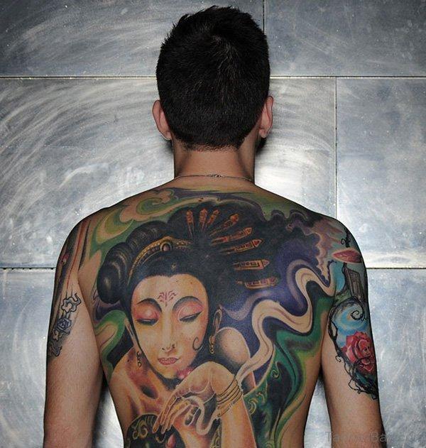 Geisha Tattoo On Full Back Body