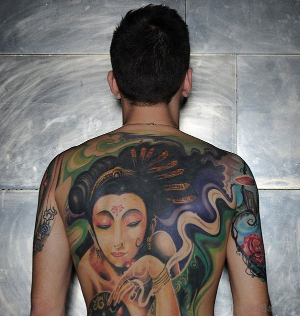 Geisha Tattoo On Full Back Body