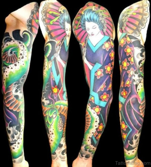 Geisha Tattoo On Full Sleeve