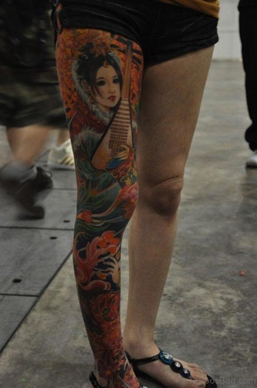 Geisha Tattoo On Leg