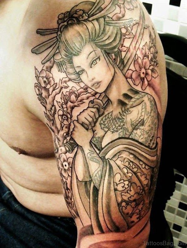 Geisha Tattoo On Shoulder