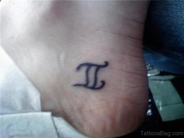 Gemini Zodiac Sign Tattoo On Ankle