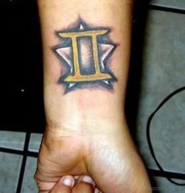 Gemini Zodiac Tattoo On Wrist