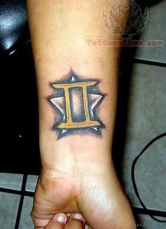Gemini Zodiac Tattoo On Wrist