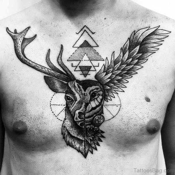 Geometric Buck Tattoo On Chest