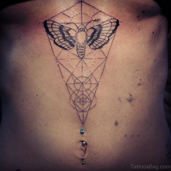 Geometric Butterfly Tattoo On Stomach