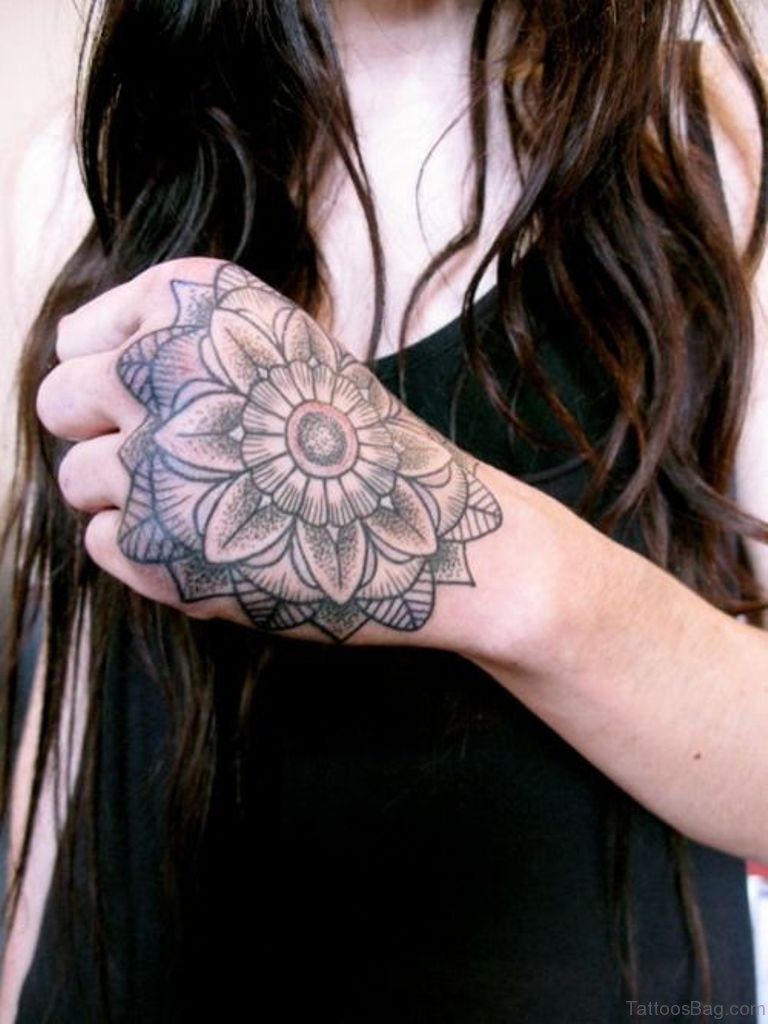 62 outstanding geometric tattoos on hand for Flower tattoos on hand