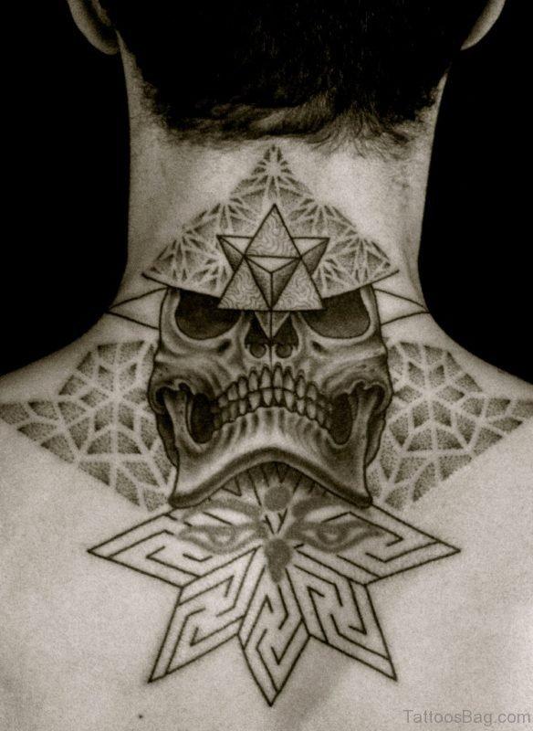 Geometric Skull Tattoo On Nape