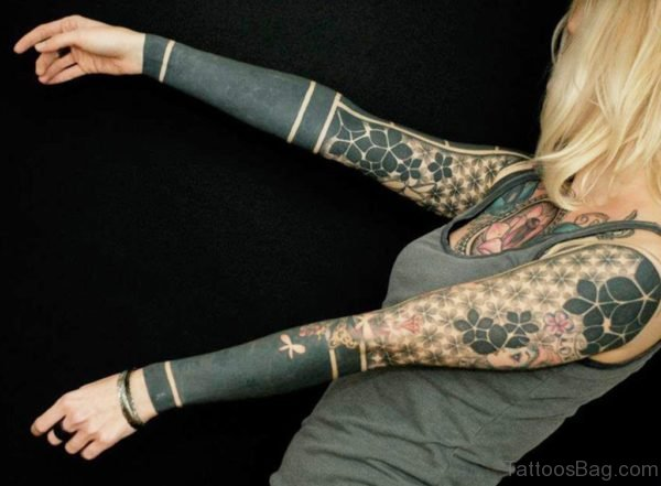 Geometric Tattoo On Girl Full Sleeve