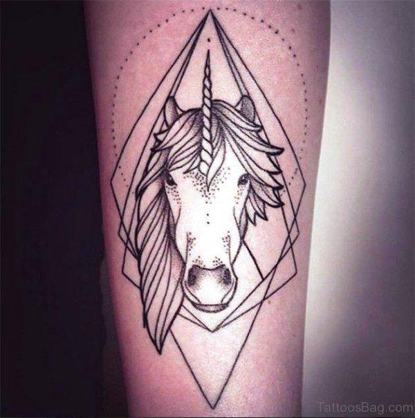 Geometrical Unicorn Tattoo On Arm
