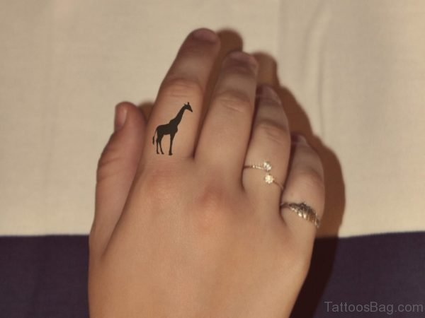 Giraffe Tattoo On Finger