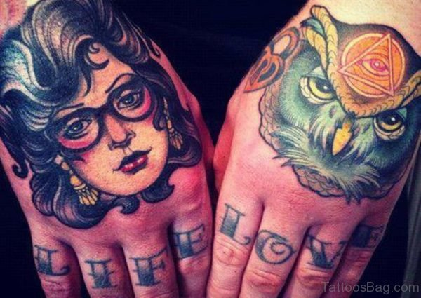 Girl Face And Owl Tattoo