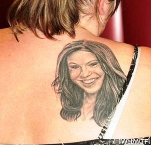 Girl Face Tattoo Design On Shoulder
