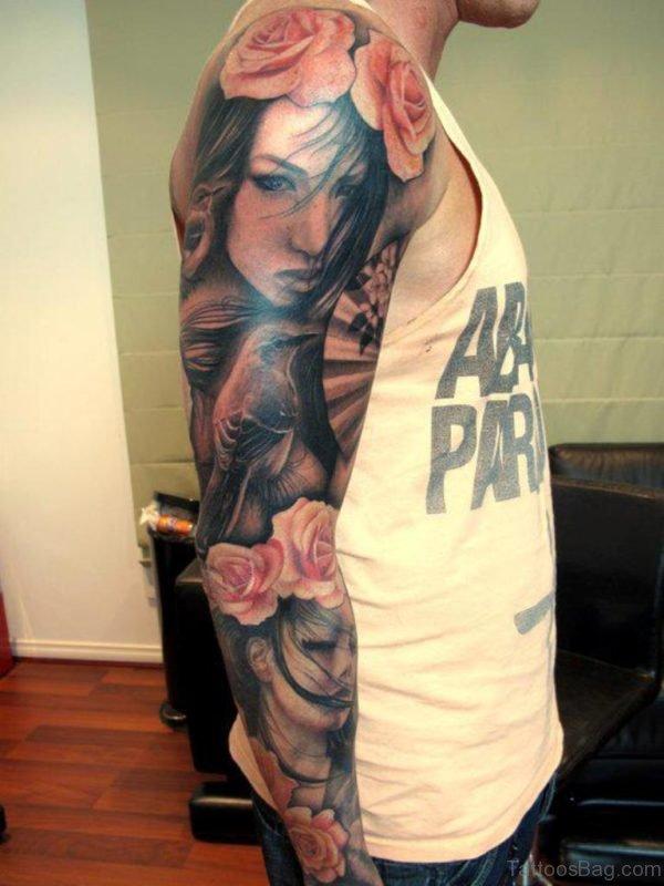 Girl Face Tattoo Design Onl Full Sleeve