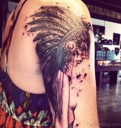 Girl Face Tattoo On Shoulder