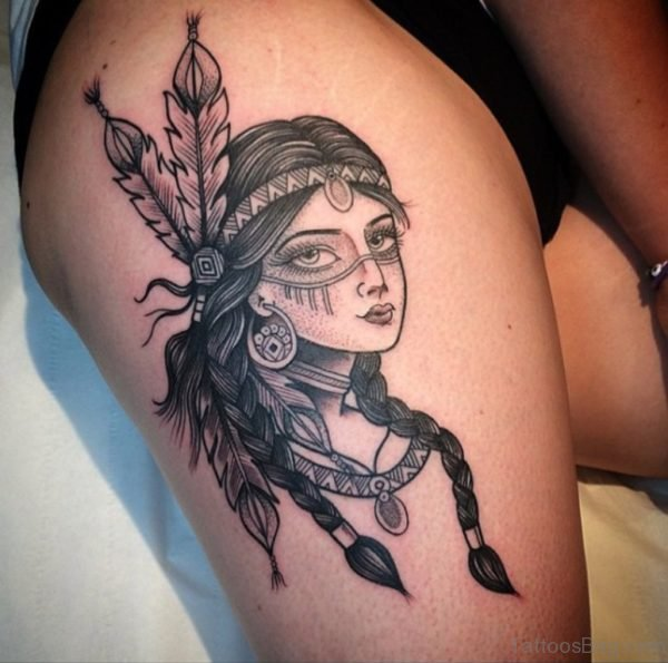 Girl Face Tattoo On Thigh