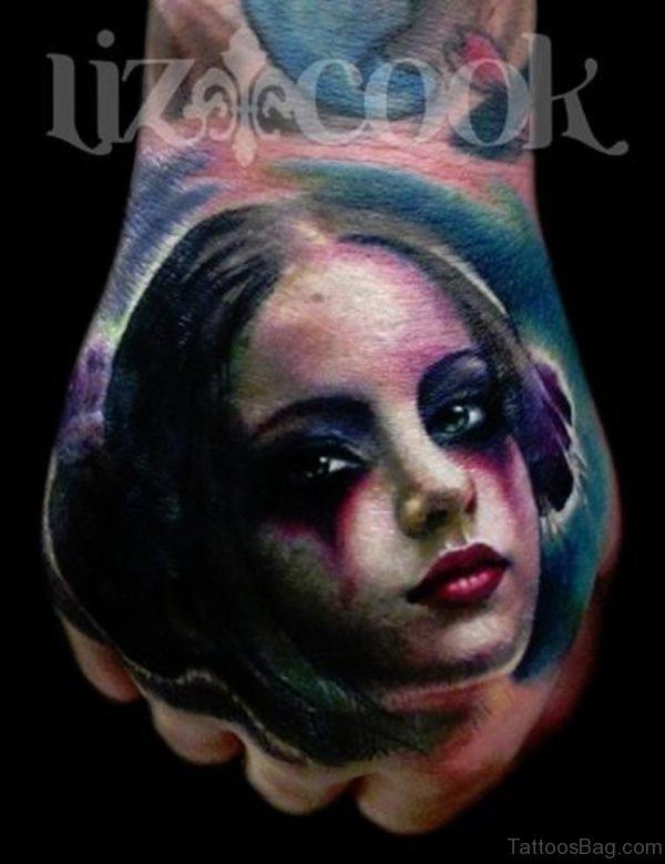 Girl Hand Portrait Tattoo
