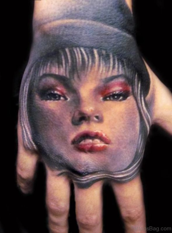 Girl Portrait Hand Tattoo