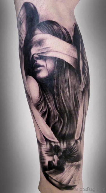 Girl Portrait Tattoo On Leg