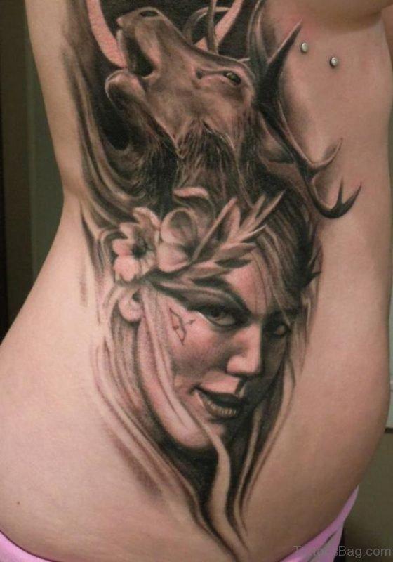 Girl Portrait Tattoo On Rib