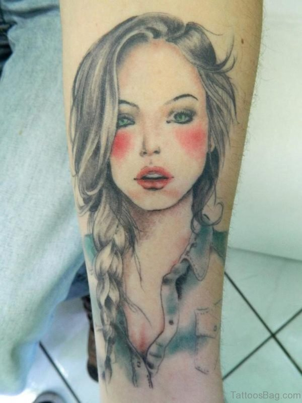 Girl Portrait Tattoo On Wrist