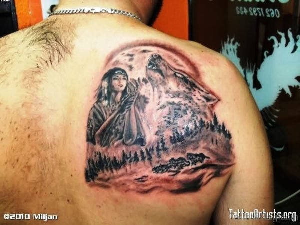 Girl With Wolf Tattoo On Back Shoulder