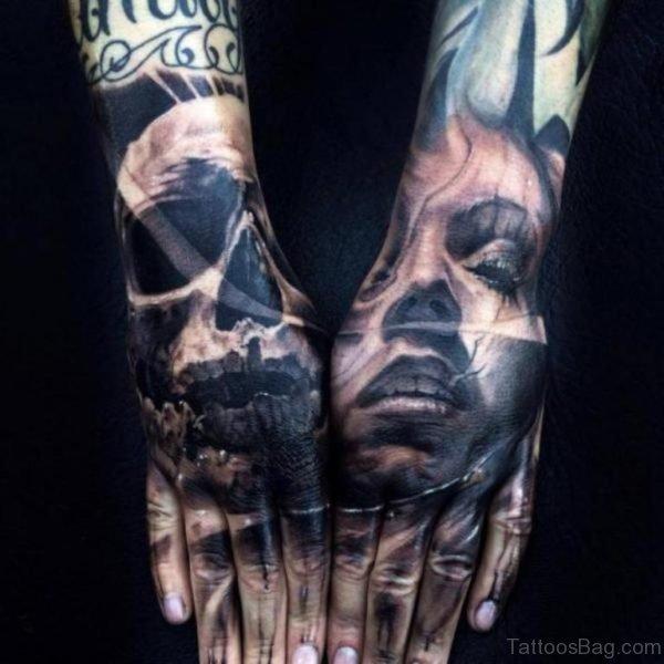 Girl face Skull Tattoo