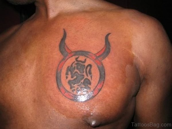 Glowing Zodiac Taurus Tattoo For Chest