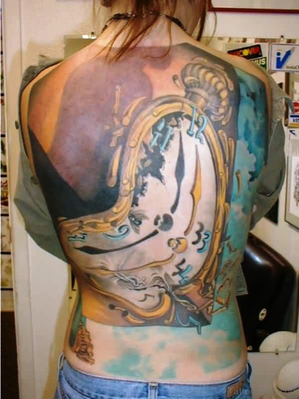 Golden Dali Clock Tattoo On Back
