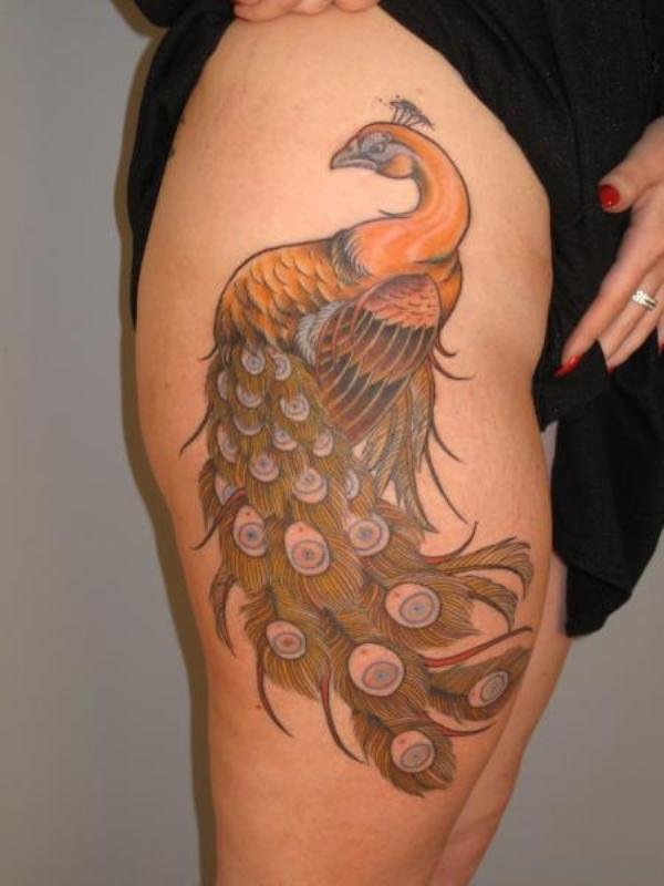 Golden Peacock Tattoo On Thigh