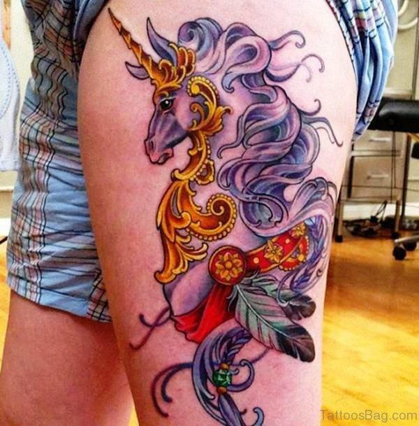 Golden Unicorn Tattoo On Thigh