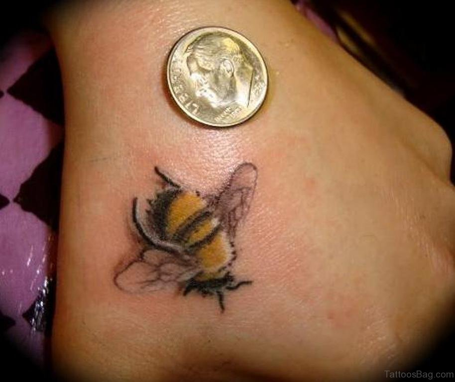 36 cool bee tattoo on hand. Black Bedroom Furniture Sets. Home Design Ideas