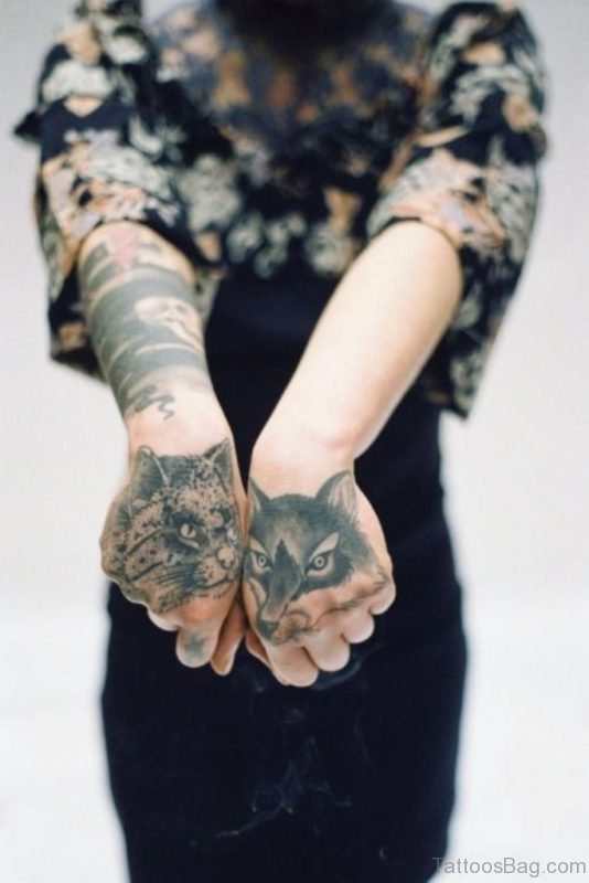 Good Cat Tattoo On Hand