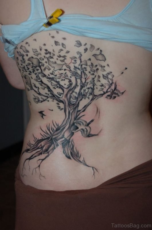 Good Looking Tree Tattoo On Rib
