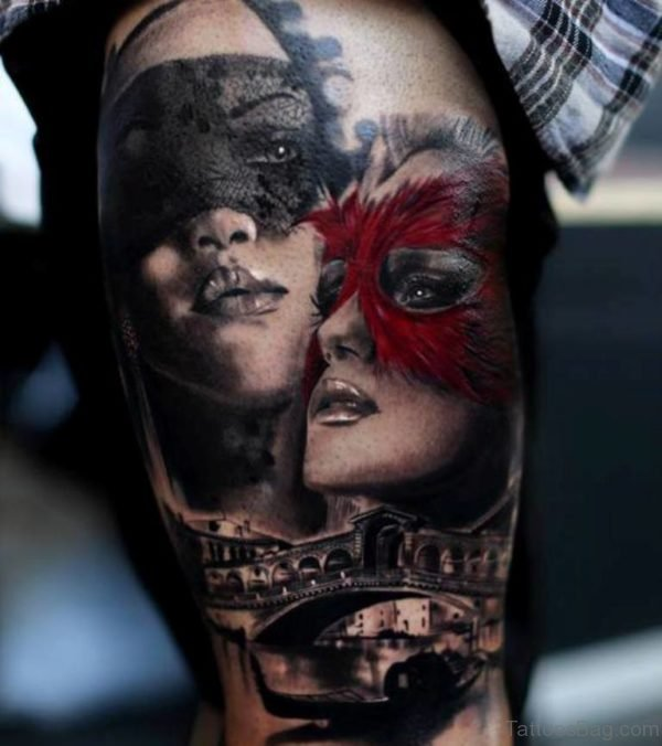 Good Looking Venetian Mask Tattoo