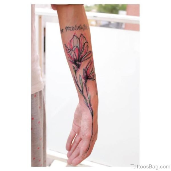 Gorgeous Magnolia Tattoo On Wrist