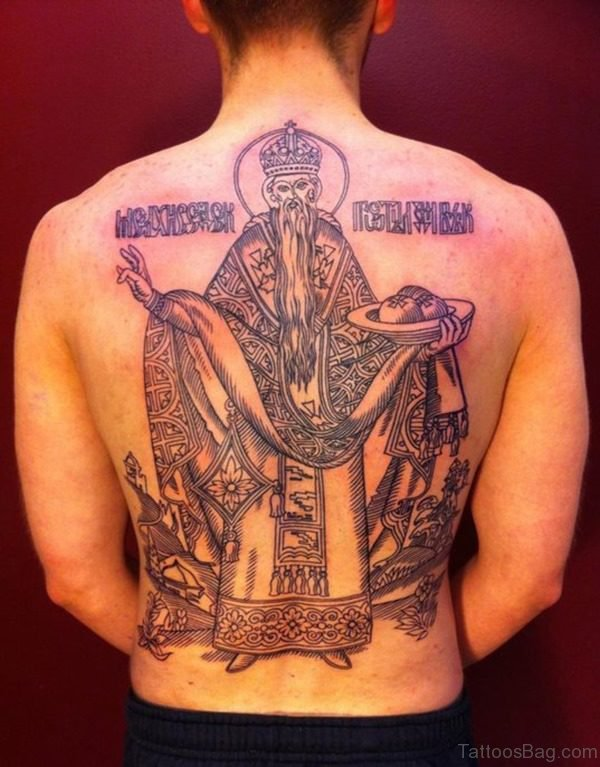 Gorgeous Religious Tattoo On Back Body