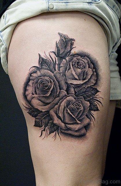 Gorgeous Rose Tattoo On Rib