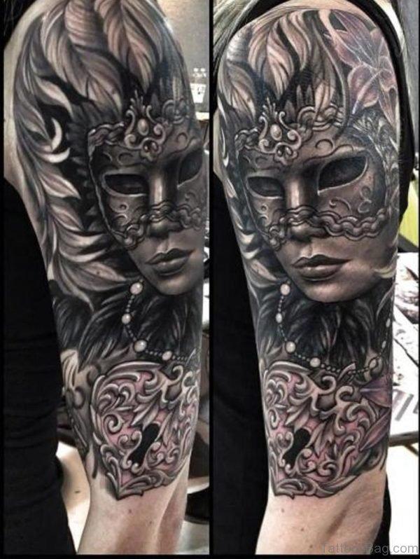 Gorgeous Venetian Mask Tattoo