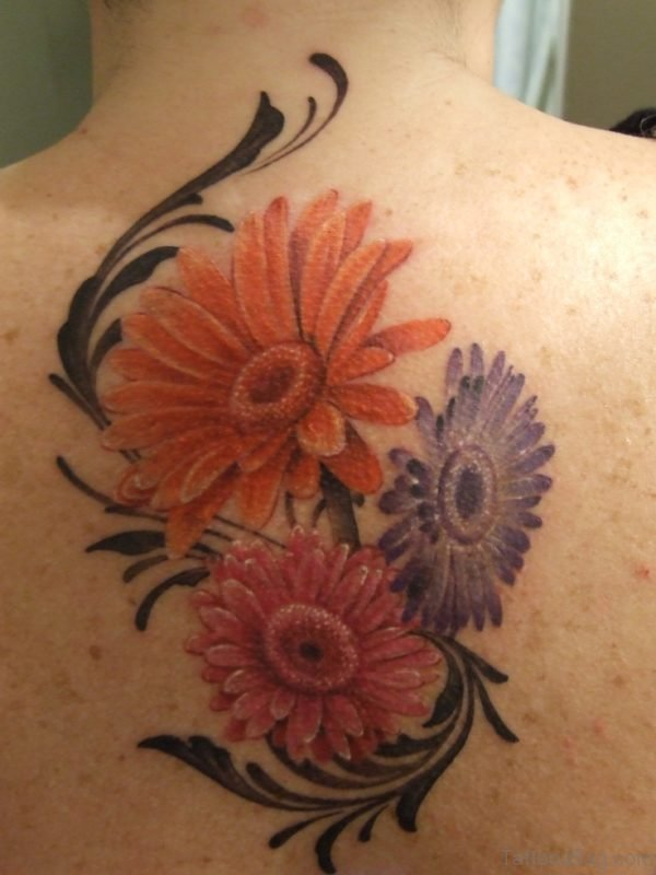 Gorgeus Daisy Flower Tattoo On Back