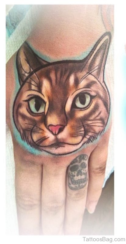 Graceful Cat Tattoo On Hand