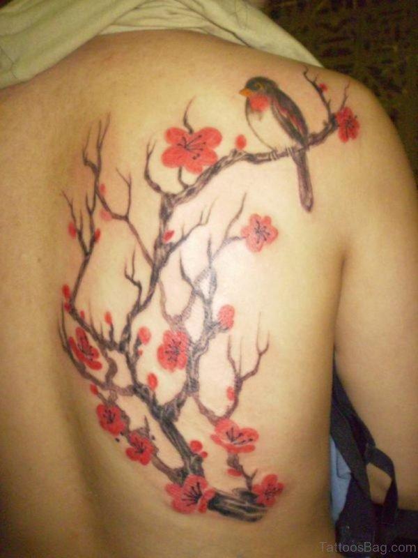 Graceful Flower And Bird Tattoo