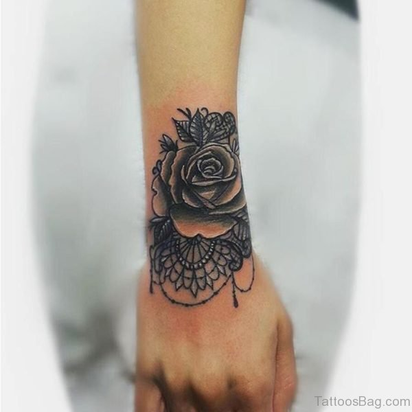 Graceful Mandala Flower Tattoo On Wrist