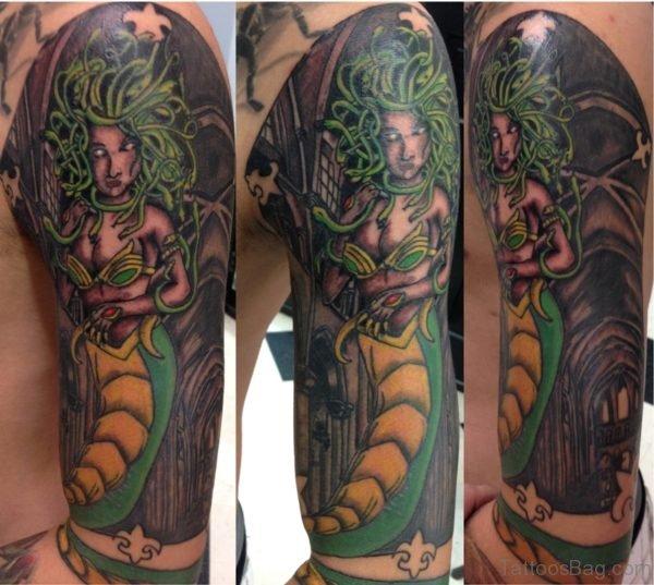 Graceful Medusa Tattoo On Half Sleeve