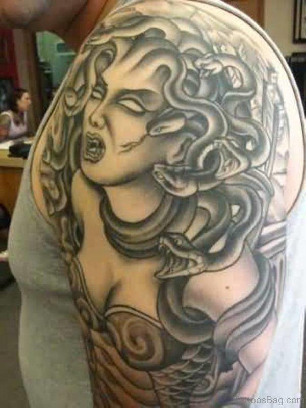 Graceful Medusa Tattoo On Shoulder